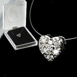 Wholesale CZ Pave Heart Pendant Necklace in gift box