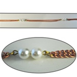 Wholesale Pearl Chain Two 8mm pearls linked with double strand chain, sold in 20 Feet minimum lengths.