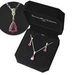 Pink Crystal Rhinestone Necklace Earring Set