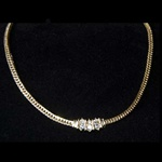 "Gold 18"" Necklace with Crystal Pendant"