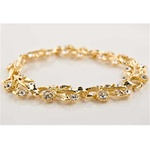 Gold Plated Flower Bracelet with Crystals