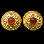 Fancy Gold Plated Clip Earrings with Red Center Stone