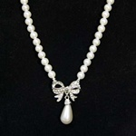 "Pearl with Crystal Studded Bow and Tear Drop, 16"" Necklace with 2"" Extender"