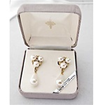 Beautiful, Pearl and Austrian Crystal Dangle Earrings