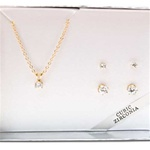 Gold Plated Neck with Genuine CZ  and 2 sets Matching Earrings