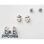 CZ Stud Earrings, set of 3 styles