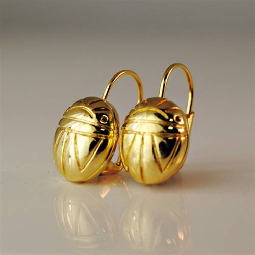 Gold Plated Scarab Earrings