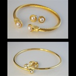 Two Bracelet & Earring Sets Elegant Bracelet and matching earrings.One with pearls and the other with crystal rhinestones. Both for only $7.99!
