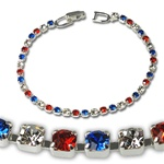 Red White & Blue Rhinestone Tennis Bracelet