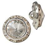 Crystal Glass Rivoli  Crystal Glass & Rhinestone Button, Sizes 11, 13 & 16mm