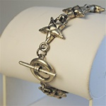 Wholesale Antique Silver Stars Necklace Charming puffed stars bracelet with toggle clasp, 7 1/2""