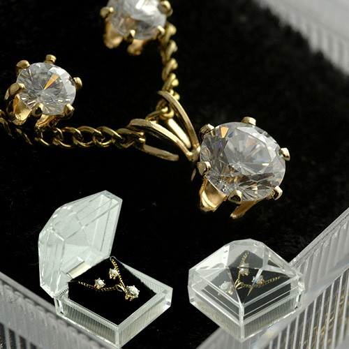 Wholesale jewelry cubic zirconia necklace earring set in gift box aloadofball Image collections