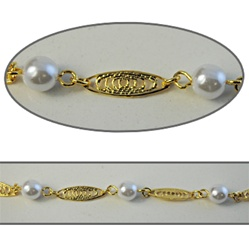 Wholesale Chanel Footage Alternating 6mm pearls with filigree ovals in gold plated setting, sold in 10 Feet minimum lengths.