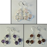 Wholesale Sterling Silver Gemstone Earrings Beautiful 8mm gemstones set in sterling silver, rose quartz, carnelian & amethyst.
