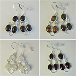 Wholesale Sterling Silver Gemstone Earrings Beautiful 8mm gemstones set in sterling silver, crystal quartz, black onyx, tiger eye & garnet.