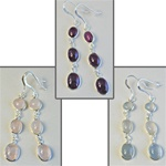Wholesale Sterling Silver Gemstone Earrings Beautiful 8mm gemstones set in sterling silver, rose quartz, amethyst & crystal quartz.