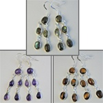 Wholesale Sterling Silver Gemstone Earrings Beautiful 8mm gemstones set in sterling silver, amethyst, moss green & tiger eye.