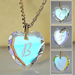 Wholesale Initial Heart Pendant Necklace Beautiful Swarovski Crystal Heart With Engraved Initials Come With 18 Quot Chain And Velvet Gift Pouch
