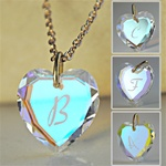 "Wholesale  Initial Heart Pendant Necklace Beautiful swarovski crystal heart with engraved initials, come with 18"" chain and velvet gift pouch. Avalible letters are-A,B,C,D,E,F,G,H,J,K,L,M,N,P,R,S,T,W."