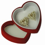 Rhinestone Earrings in Heart Shaped Box