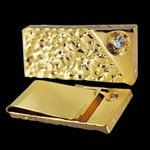 Sparkling Gold Tone Nugget Style Tie Clip, with CZ Stone