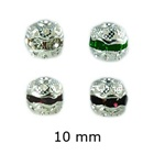 Silver Plated Rhinestone Balls 10mm